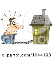 Cartoon Man Tied To A House With A Mortgage Chain