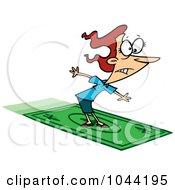 Royalty Free RF Clip Art Illustration Of A Cartoon Rich Businesswoman Surfing On A Dollar Bill