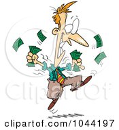 Royalty Free RF Clip Art Illustration Of A Cartoon Excited Businessman Holding Cash