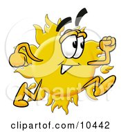 Clipart Picture Of A Sun Mascot Cartoon Character Running by Toons4Biz