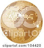 Royalty Free RF Clipart Illustration Of A Golden Sparkly Disco Ball Globe by elaineitalia