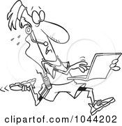 Royalty Free RF Clip Art Illustration Of A Cartoon Black And White Outline Design Of A Mobile Jogger Using A Laptop by toonaday