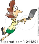 Royalty Free RF Clip Art Illustration Of A Cartoon Mobile Businesswoman Taking Off With Her Laptop by toonaday