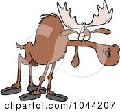 Royalty Free RF Clip Art Illustration Of A Cartoon Tired Moose by toonaday
