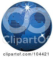 Royalty Free RF Clipart Illustration Of A Blue Sparkly Disco Ball Globe by elaineitalia