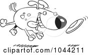 Royalty Free RF Clip Art Illustration Of A Cartoon Black And White Outline Design Of A Dog Fetching A Disc