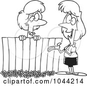 Cartoon Black And White Outline Design Of Lady Neighbors Chatting Over A Fence