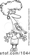 Royalty Free RF Clip Art Illustration Of A Cartoon Black And White Outline Design Of A Woman With A Frog In Her Throat