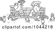 Royalty Free RF Clip Art Illustration Of A Cartoon Black And White Outline Design Of A Senior Couple Feeding Birds by toonaday