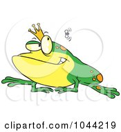 Royalty Free RF Clip Art Illustration Of A Cartoon King Frog Watching A Fly by toonaday