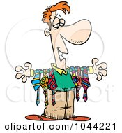 Royalty Free RF Clip Art Illustration Of A Cartoon Man Displaying Ties On His Arms