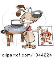 Royalty Free RF Clip Art Illustration Of A Cartoon Dog Holding A Fax Of A Cat