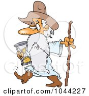 Royalty Free RF Clip Art Illustration Of A Cartoon Father Time Carrying An Hourglass