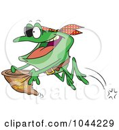 Royalty Free RF Clip Art Illustration Of A Cartoon Pirate Frog Trick Or Treating