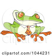 Royalty Free RF Clip Art Illustration Of A Cartoon Business Frog With An Ant Tie by toonaday