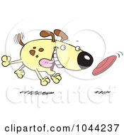 Royalty Free RF Clip Art Illustration Of A Cartoon Dog Fetching A Disc