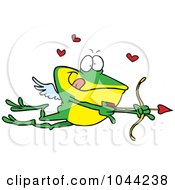 Royalty Free RF Clip Art Illustration Of A Cartoon Frog Cupid by toonaday