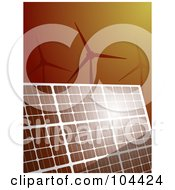 Royalty Free RF Clipart Illustration Of Sunshine Bouncing Off Of A Solar Panel With Wind Turbines Over Brown