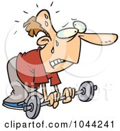Royalty Free RF Clip Art Illustration Of A Cartoon Feeble Man Lifting A Barbell by toonaday
