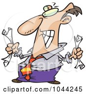 Royalty Free RF Clip Art Illustration Of A Cartoon Fed Up Businessman Crumpling Paper by toonaday