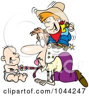 Royalty Free RF Clip Art Illustration Of Cartoon Boys Playing On The Floor With Their Dad by toonaday
