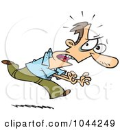Royalty Free RF Clip Art Illustration Of A Cartoon Fearful Man Running