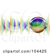 Royalty Free RF Clipart Illustration Of A Rainbow Disco Ball Wearing Headphones Over Colorful Sound Waves