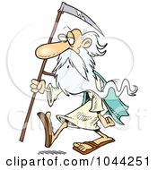 Royalty Free RF Clip Art Illustration Of A Cartoon Father Time Carrying A Scythe