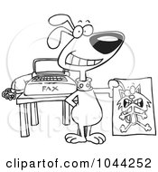 Royalty Free RF Clip Art Illustration Of A Cartoon Black And White Outline Design Of A Dog Holding A Fax Of A Cat
