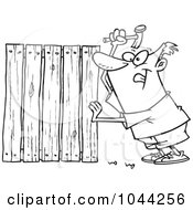 Royalty Free RF Clip Art Illustration Of A Cartoon Black And White Outline Design Of A Fencer Nailing Boards by toonaday