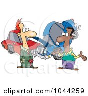 Royalty Free RF Clip Art Illustration Of Two Men Roadside After A Fender Bender by Ron Leishman