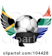 Royalty Free RF Clipart Illustration Of A Shiny Soccer Ball With South African Wings And A Black Banner by elaineitalia