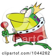 Royalty Free RF Clip Art Illustration Of A Cartoon King Frog by toonaday