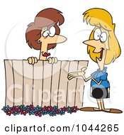 Cartoon Lady Neighbors Chatting Over A Fence