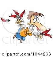 Royalty Free RF Clip Art Illustration Of A Cartoon Man Trying To Fly With Feathers