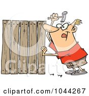 Royalty Free RF Clip Art Illustration Of A Cartoon Fencer Nailing Boards