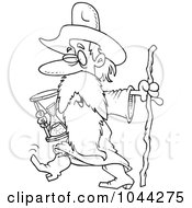 Royalty Free RF Clip Art Illustration Of A Cartoon Black And White Outline Design Of Father Time Carrying An Hourglass