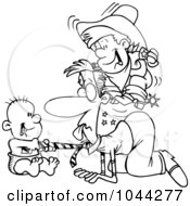 Royalty Free RF Clip Art Illustration Of A Cartoon Black And White Outline Design Of Boys Playing On The Floor With Their Dad