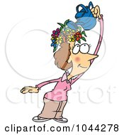 Royalty Free RF Clip Art Illustration Of A Cartoon Fertile Woman Watering The Flowers On Her Head by Ron Leishman