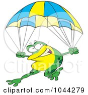 Royalty Free RF Clip Art Illustration Of A Cartoon Frog Parachuting