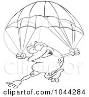 Royalty Free RF Clip Art Illustration Of A Cartoon Black And White Outline Design Of A Frog Parachuting