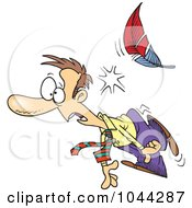 Royalty Free RF Clip Art Illustration Of A Cartoon Feather Knocking Out A Businessman