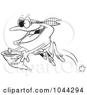 Royalty Free RF Clip Art Illustration Of A Cartoon Black And White Outline Design Of A Pirate Frog Trick Or Treating
