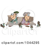 Cartoon Senior Couple Feeding Birds