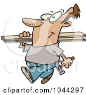 Royalty Free RF Clip Art Illustration Of A Cartoon Fencer Carrying Planks