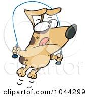Royalty Free RF Clip Art Illustration Of A Cartoon Jumproping Dog by toonaday
