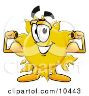 Clipart Picture Of A Sun Mascot Cartoon Character Flexing His Arm Muscles by Toons4Biz