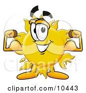 Sun Mascot Cartoon Character Flexing His Arm Muscles