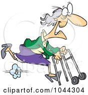 Royalty Free RF Clip Art Illustration Of A Cartoon Feisty Granny Running With A Walker