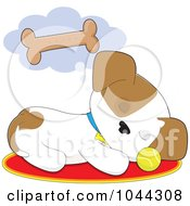 Royalty Free RF Clip Art Illustration Of A Cute Puppy Dreaming Of A Bone Biscuit